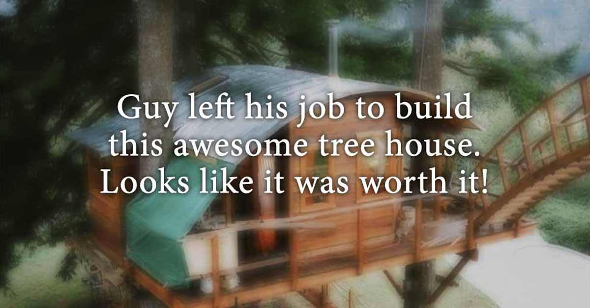 Guy Left His Job To Build This Awesome Tree House. Best Decision Ever!