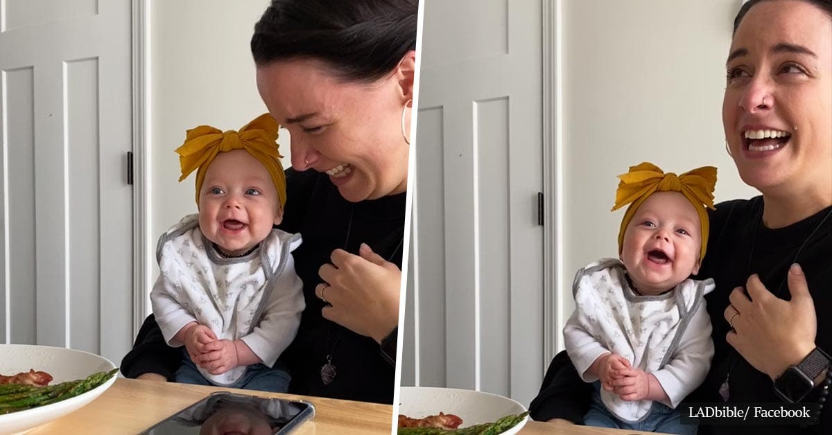 This adorable video of a 4-month-old baby girl laughing for the first time is absolutely addictive