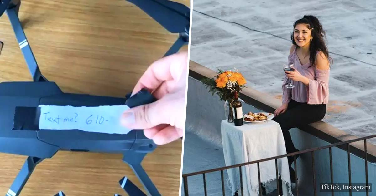 This guy saw a girl dancing on a rooftop and asked her out via drone. It worked!
