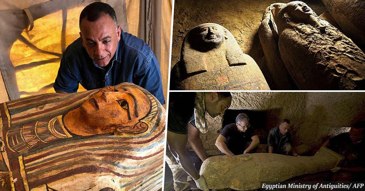 Archaeologists uncover 27 ancient wooden coffins buried for 2,500 years in Egypt in largest discovery of its kind