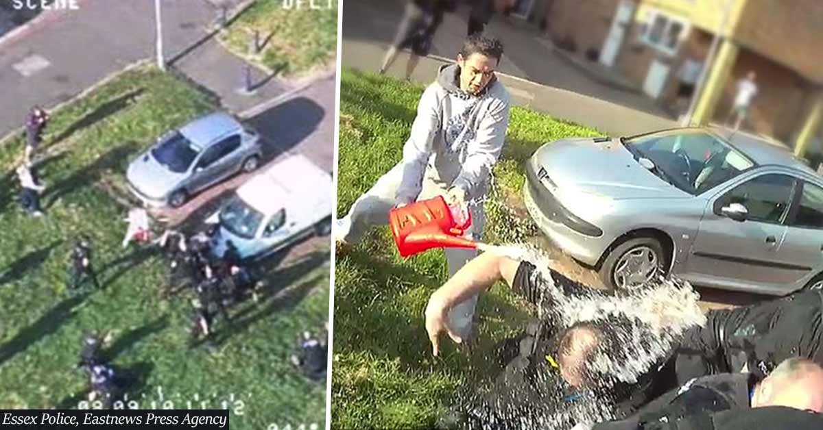 Shocking footage: Police officers doused in petrol during arrest